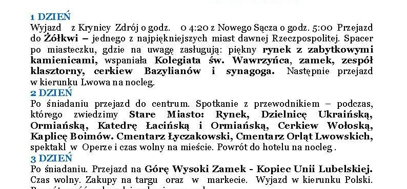 Lwów z Żółkwią 4-6.11.2016 cena 330 zł /os.
