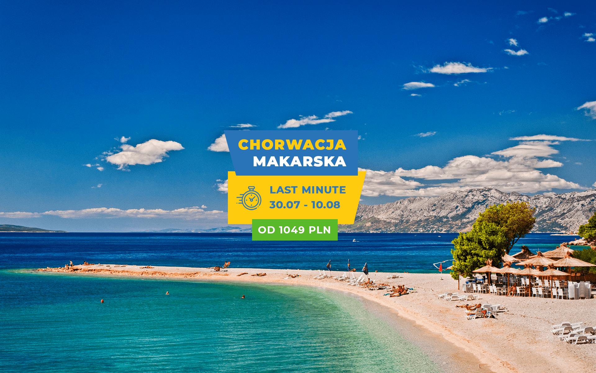 Wczasy Chorwacja Makarska LAST MINUTE 30.07 – 10.08.2019, teraz 100zł TANIEJ